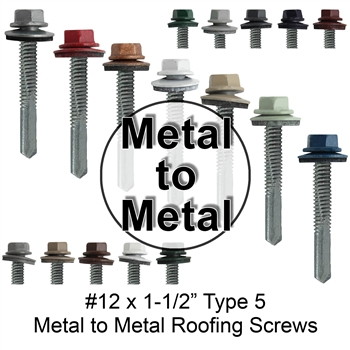 "Colored Metal to Metal Roofing Screws, Sheet Metal Roofing Screws, Corrugated Metal Roofing Siding Screws (#12 x 1-1/2"" -- 1-1/2 inch roofing screws)"