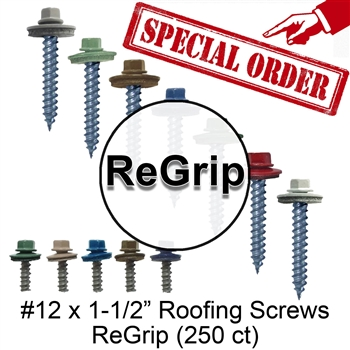"#12 x 1-1/2"" Roofing Screws Regrip (250 Count) Special Order"