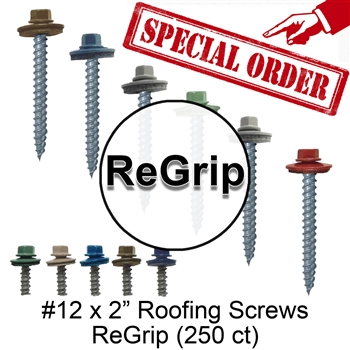 "#12 x 2"" Roofing Screws Regrip (250 Count) Special Order"