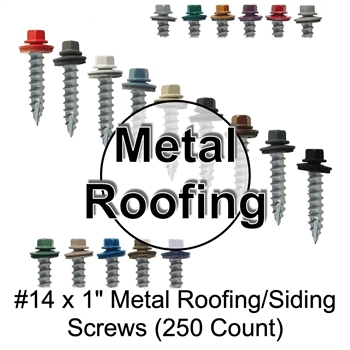 "Colored Roofing Screws, Sheet Metal Roofing Screws, Corrugated Metal Roofing Siding Screws Pole Barn (#14 x 1"" -- 1 inch roofing screws)"