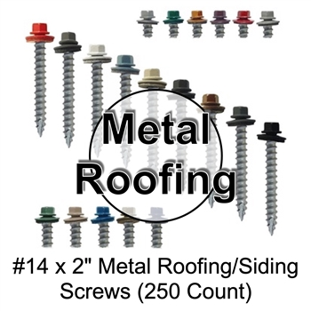 "Colored Roofing Screws, Sheet Metal Roofing Screws, Corrugated Metal Roofing Siding Screws Pole Barn (#14 x 2"" -- 2 inch roofing screws)"