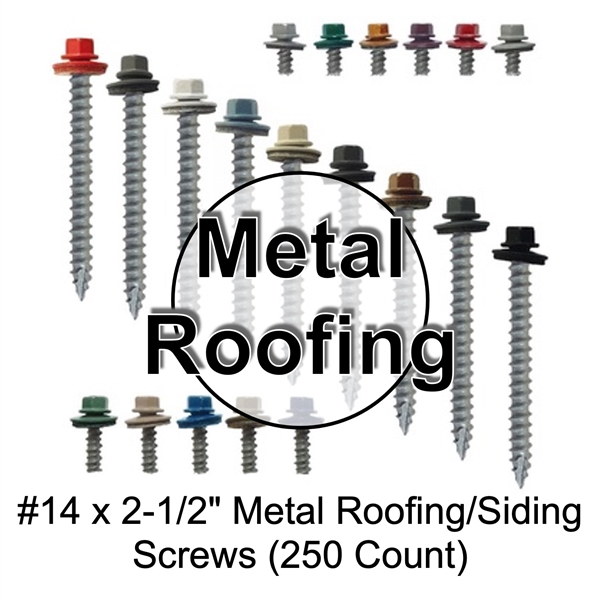"Colored Roofing Screws, Sheet Metal Roofing Screws, Corrugated Metal Roofing Siding Screws Pole Barn (#14 x 2-1/2"" inch roofing screws)"