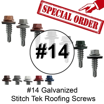 "Special Order #14 x 7/8"" Stitch Tek Metal To Metal Type #1 Roofing Screws"