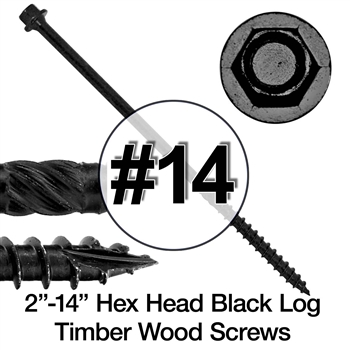 #14 Timber Hex Black Log Wood Screws