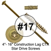 #17 3/8 Construction Lag Star/Torx Drive Screws