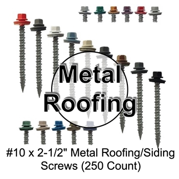 "Mechanical Galvanized Roofing Screws, Sheet Metal Roofing Screws, Corrugated Metal Roofing Siding Screws Pole Barn (2-1/2"" 2-1/2 inch roofing screws)"