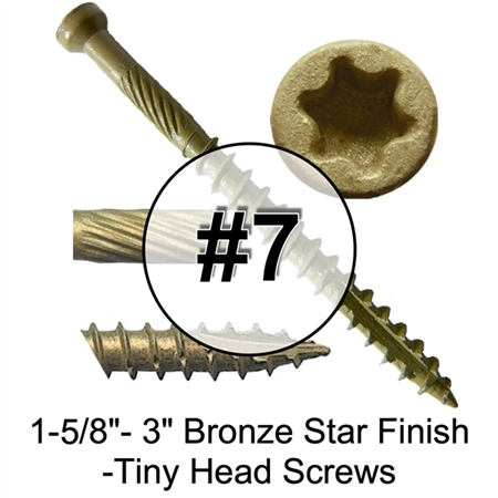 High Performance Bronze Star/Torx Drive Finish Tiny Head Exterior Wood Screw