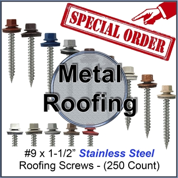 "Colored Roofing Screws, Sheet Metal Roofing Screws, Corrugated Metal Roofing Siding Screws Pole Barn (#9 x 1-1/2"" -- 1-1/2 inch roofing screws)"