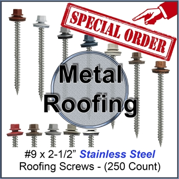 "Colored Roofing Screws, Sheet Metal Roofing Screws, Corrugated Metal Roofing Siding Screws Pole Barn (#9 x 2-1/2"" -- 2-1/2 inch roofing screws)"