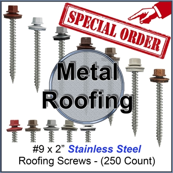 "Colored Roofing Screws, Sheet Metal Roofing Screws, Corrugated Metal Roofing Siding Screws Pole Barn (#9 x 2"" -- 2 inch roofing screws)"