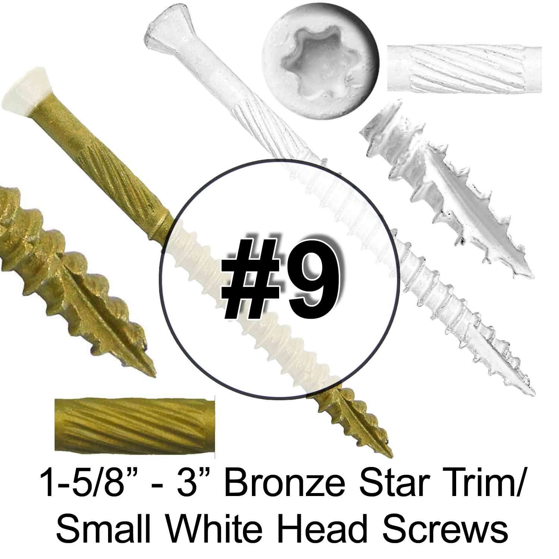Grade 305 Stainless Steel Torx//Star Drive Screws 1 Pound - 174 APX. Screws - Stainless Steel Trim Head Wood Screws #9 x 1-5//8 Silver Star Stainless Steel Trim Head Screw Torx//Star Head