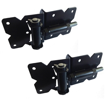Vinyl Self Closing Fence Gate Hinges - Vinyl Gate Self Closing Hinges - BLACK Spring Loaded Hinges