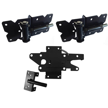 Self Closing Vinyl Single Gate Kit - BLACK - Self Closing Spring Loaded Vinyl Gate Hinges and Vinyl Gate Latch