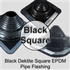 Black Dektite Square Flexible Metal Roof Pipe Flashing Boot - Dektite EPDM Pipe Flashing Boot for Metal Roofing Applications