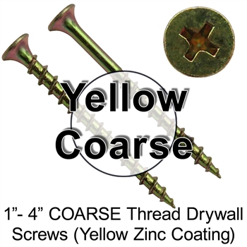 Drywall Sheetrock COARSE Yellow Zinc Thread Screws - Drywall Screws - Phosphate Drywall Screws