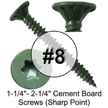 Star/Torx Drive Cement Board Screws (Sharp Point) (1 Pound)