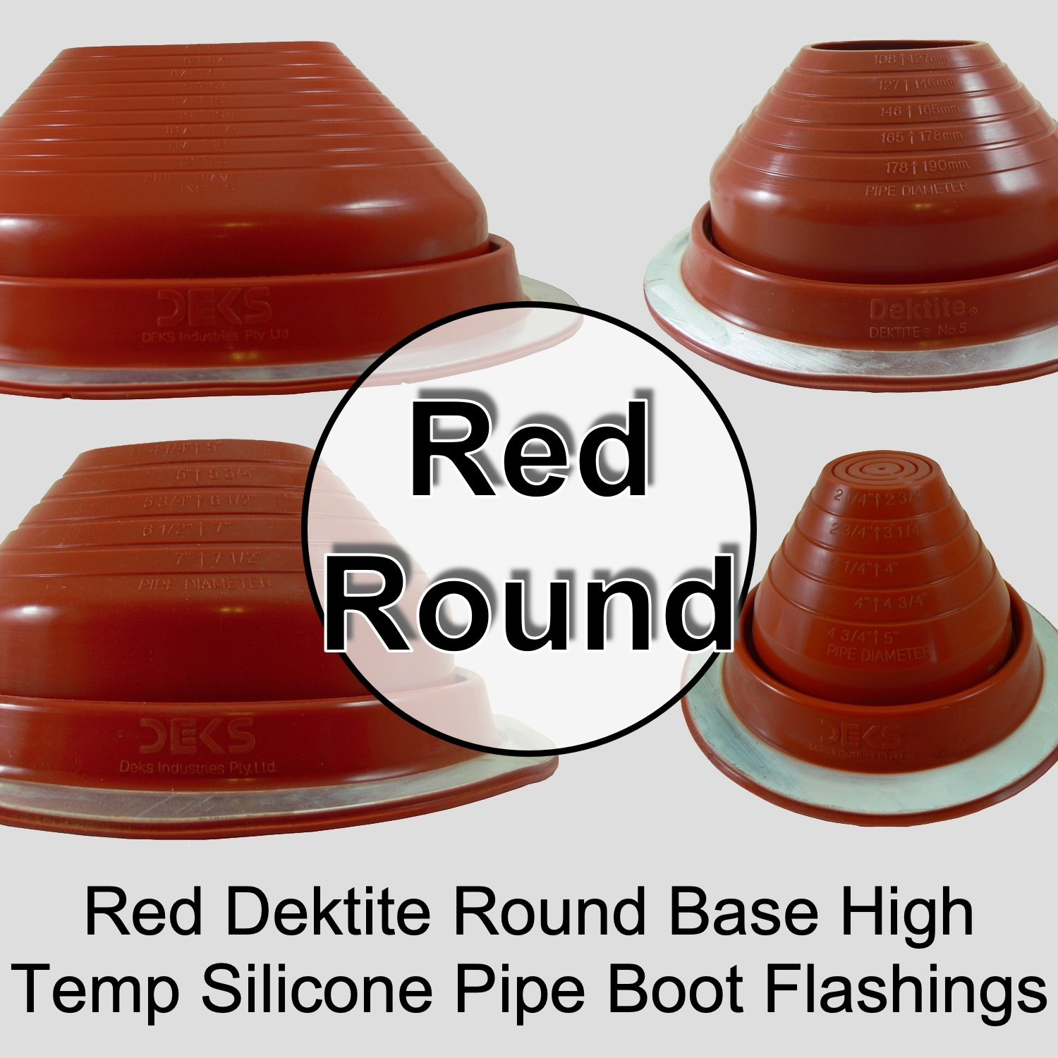 Dektite Pipe Flashing Round Base High Temperature Silicone Flexible Pipe Boots Flashings Dektite Roof Flashing Red Round Base Pipe Flashing Df203re Df205re Df206re Df207re Df208re Df209re 4035910 4036910 4038910 4039910