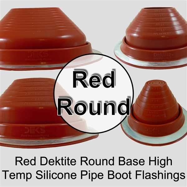 Dektite Flexible High Temperature Metal Roof Pipe Round Base Flashing Boot - Dektite Round Base Silicone Pipe Flashing Boot for Metal Roofing Applications - DF203RE, DF205RE, DF206RE, DF207RE, DF208RE, DF209RE