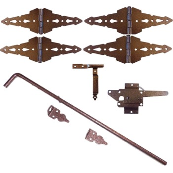 Bronze Finish Wood Double Gate Kit - Wood Single Gate Hinges, Gate Latch & Wood Gate Drop Rod/Pin/Cane Bolt