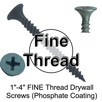 Drywall Sheetrock FINE Thread Screws - Drywall Screws - Phosphate Drywall Screws