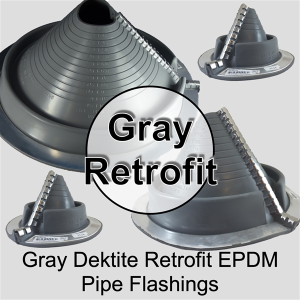 Dektite Retrofit Flexible Metal Roof Pipe Flashing Boot - Dektite EPDM Pipe Flashing Boot for Metal Roofing Applications