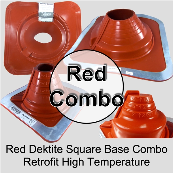 Dektite Flexible High Temperature Metal Roof Pipe Square Flashing Boot - Dektite Square Silicone Pipe Flashing Boot for Metal Roofing Applications