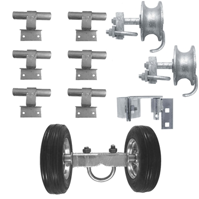 "6"" CHAIN LINK WALL MOUNTED ROLLING GATE HARDWARE KIT: (Chain Link Fence Gate Parts) (6"" Rut Runner, 2 Track Wheels, 6 Wall Mounted Track Brackets, 1 Rolo Latch)"