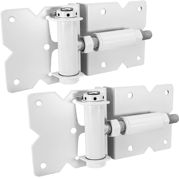 Vinyl Self Closing Fence Gate Hinges - Vinyl Gate Self Closing Hinges - WHITE Spring Loaded Hinges