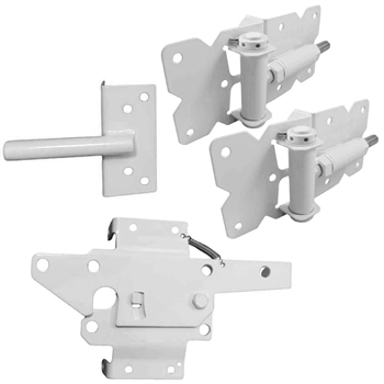 Self Closing Vinyl Single Gate Kit - WHITE - Self Closing Spring Loaded Vinyl Gate Hinges and Vinyl Gate Latch
