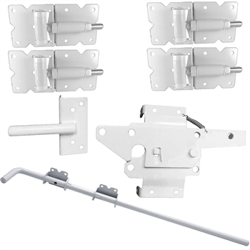 WHITE Standard Vinyl Double Gate Kit (Vinyl Hinges, Latch & Drop Rod)