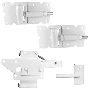 Vinyl Fence Single Gate Kit - Vinyl Gate Hinge & Vinyl Gate Latch - WHITE