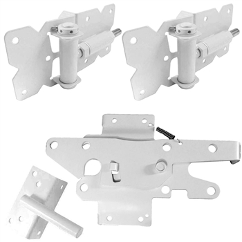 Self Closing Vinyl Fence Gate Single Gate Hardware Kit WHITE (for Vinyl, PVC etc. Fencing) 2 Hinges and 1 Latch w/Screws (Lockable Both Sides)
