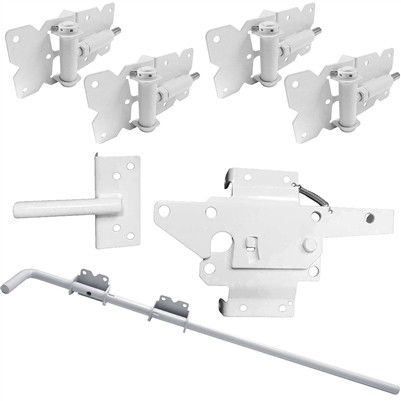 WHITE Self Closing Vinyl Double Gate Kit (Vinyl Hinges, Latch & Drop Rod)