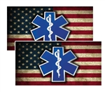 EMS Star of Life on Distressed American Flag Decal Pack of 4
