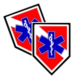 EMT/EMS Unit Shield Shaped Police Decal Package of 4