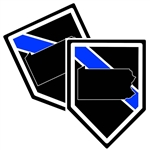 State of Pennsylvania Thin Blue Line Police Decal (Sticker) - Pack of 2 Decals