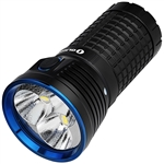 "Olight X7 Marauder Flashlight with 4 18650 batteries. It features 9000 lumens in a ""soda can"" sized light to provide the power of the sun in the palm of your hand."