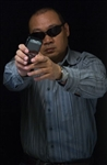 ASIAN MALE W SUNGLASS & OBJECT (LOW LIGHT) No Shoot Target Order in quantities of 25
