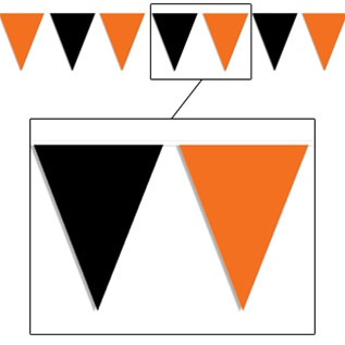 orange and black outdoor pennant banner 30 ft