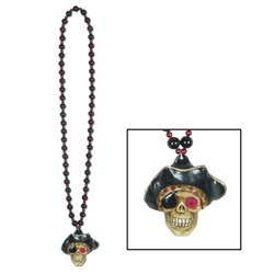 Beads with Flashing Pirate Skull Medallion (1/pkg)