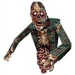 Give your guests a scare they will talk about for years with this 3-D Zombie Wall Decoration. Five separate pieces make one realistic and scary-looking Zombie. The decoration is made of cardstock material and measures 32 inches by 34 inches.