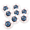 Perfect for crafts or spooky decor, these round plastic eyeballs can be used in many ways! White balls feature blue irises surrounded by  red bloodshot. Each eyeball measures approximately 1-1/2 inches in diameter. Eight eyeballs per package.