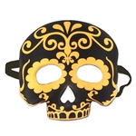 Hide your identity not your spirit, with our Day of the Dead half mask! This black fabric covered mask is printed with an over dark yellow design, and will will cover the upper half of your face.  Elastic strap attached. Comes one per package.