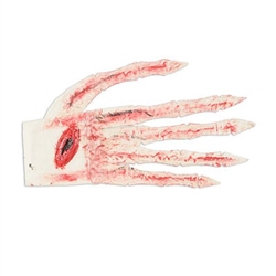 The Bloody Glove is made of a muslin type fabric, featuring 12-inch long fingers. Splattered with red dye, it appears to be blood stained. Each finger contains a thin wire, so they can be posed. One glove per package. No returns.