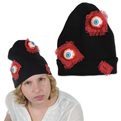The Eyeballs Knit Cap will add some gore to your next Halloween costume. The black stretch-knit cap is adorned with a pair of rubber bloodshot eyeballs, accented with red mesh fabric patches. One size fits most. No returns.