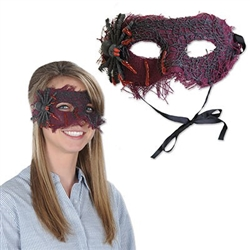 This Spider Mask will hide your identity by covering your the upper half of your face. Mask is made of stiff, woven maroon fabric decorated with a black plastic spider and web. Tie strings are attached, to easily adjust to most head sizes. No returns.