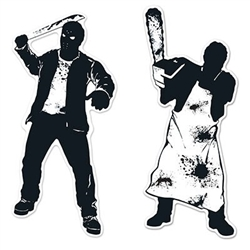 These black and white cardstock psycho Silhouettes will give your guests goosebumps! One is everyone's favorite hockey mask wearing murderer and the other is a butcher turned killer waving a bloody chainsaw around.  Comes two silhouettes per package.