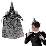 Add a little witchcraft to your next Halloween by wearing the Spider Witch Hat Headband w/Veil. The combination of black tulle, feathers, and silver spider web add an eerie touch to this easy to wear headband. Sized to fit most; not eligible for returns.