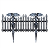 This rigid Plastic Gothic Fence is a great addition to your Halloween yard decor! Measuring a combined 38 inches long and 8.25 high, it features gargoyles and skulls on the black realistic looking fence. Black with white brushed accents.