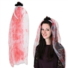 The Bloody Veil Headband is adorned with a  black silk rose and has a fake blood stained two foot long white tulle veil hanging from the back. Comes one per package. Complete your zombie bride Halloween costume! No returns.